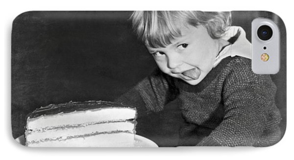 A Young Boy Ready For Cake IPhone Case by Underwood Archives