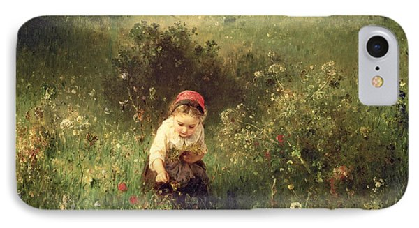 A Young Girl In A Field IPhone Case by Ludwig Knaus