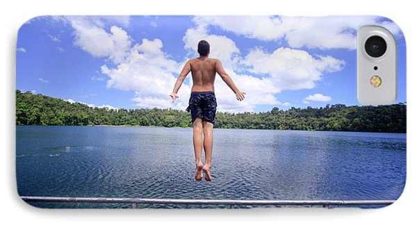 Far North Queensland iPhone 7 Case - A Young Man Jumps Into The Refreshing by Paul Dymond