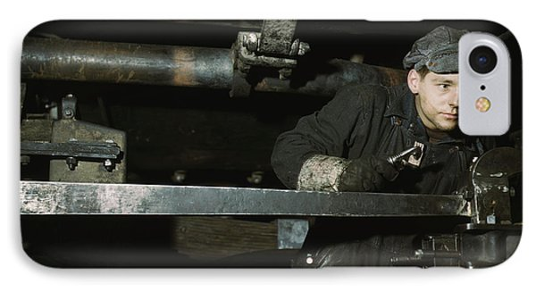 A Young Worker At The Chicago & North IPhone Case by Stocktrek Images