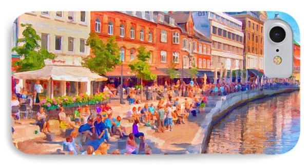 Aarhus Canal Digital Painting IPhone Case by Antony McAulay