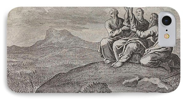 Aaron And Hur Strut Moses Hands During The Struggle IPhone Case by Jan Luyken And Pieter Mortier