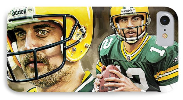 Aaron Rodgers Green Bay Packers Quarterback Artwork IPhone Case by Sheraz A