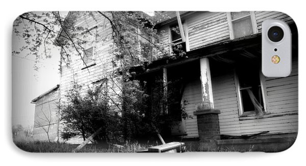 Abandoned Farm House Black And White Phone Case by Catherine Sherman