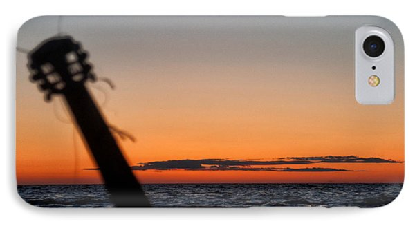 Acoustic Guitar On The Beach IPhone Case by Mike Santis