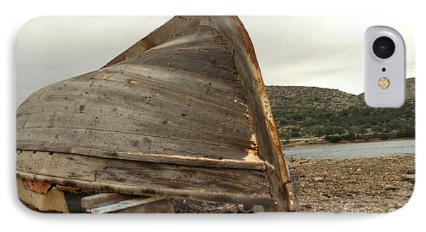 Abandoned Nafplio Fishing Boat IPhone Case by Deborah Smolinske