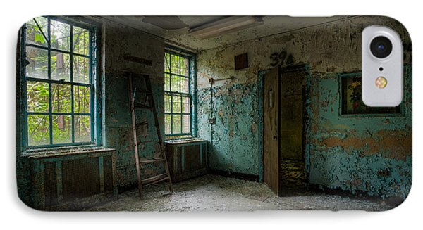 Abandoned Places - Asylum - Old Windows - Waiting Room Phone Case by Gary Heller