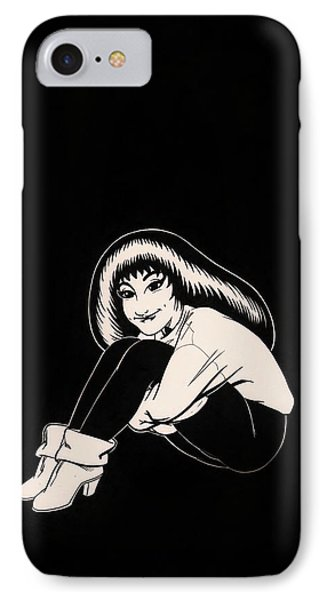 Abbey In Boots Against Black Field IPhone Case by Richard Moore