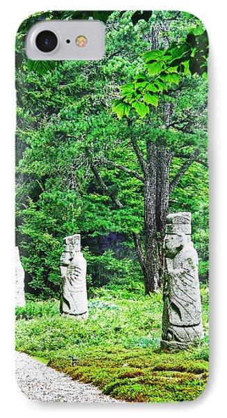 IPhone Case featuring the digital art Abby Aldrich Rockefeller Garden Path Statuary by Lizi Beard-Ward
