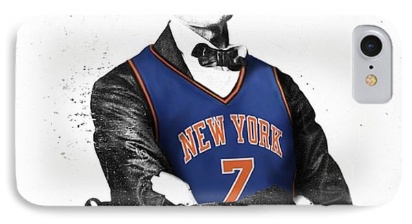 Abe Lincoln In A Carmelo Anthony New York Knicks Jersey Phone Case by Roly Orihuela