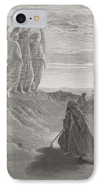 Abraham And The Three Angels IPhone Case by Gustave Dore