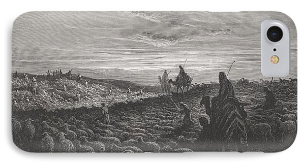Abraham Journeying Into The Land Of Canaan Phone Case by Gustave Dore