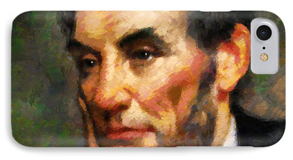 Abraham Lincoln - Abstract Realism IPhone Case by Georgiana Romanovna