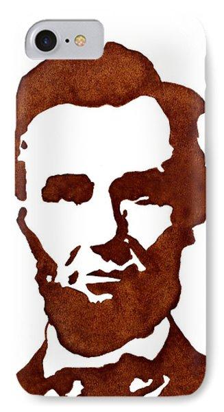 Abraham Lincoln Original Coffee Painting Phone Case by Georgeta  Blanaru