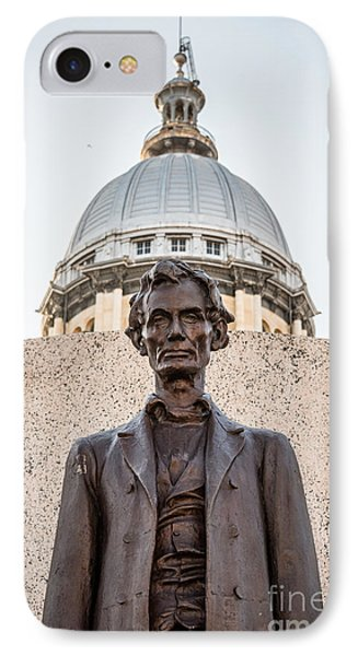 Abraham Lincoln Statue At Illinois State Capitol Phone Case by Paul Velgos