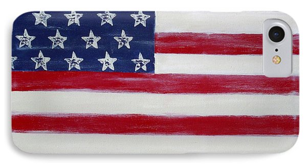 Abstract American Flag Painting Phone Case by Holly Anderson