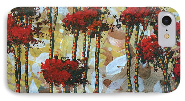 Abstract Art Decorative Landscape Original Painting Whispering Trees I By Madart Studios Phone Case by Megan Duncanson