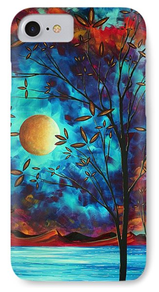 Abstract Art Landscape Tree Blossoms Sea Moon Painting Visionary Delight By Madart Phone Case by Megan Duncanson