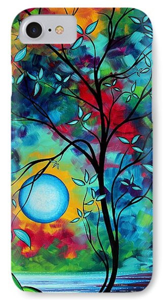 Abstract Art Landscape Tree Blossoms Sea Painting Under The Light Of The Moon I  By Madart IPhone Case
