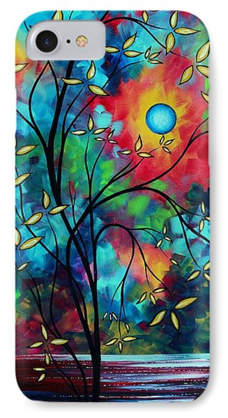 Abstract Art Landscape Tree Blossoms Sea Painting Under The Light Of The Moon II By Madart Phone Case by Megan Duncanson