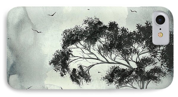 Abstract Art Original Black And White Surreal Landscape Painting Lost Moon By Madart Phone Case by Megan Duncanson