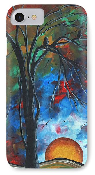 Abstract Art Original Colorful Bird Painting Spring Blossoms By Madart Phone Case by Megan Duncanson