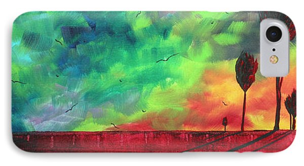 Abstract Art Original Colorful Landscape Painting Burning Skies By Madart  Phone Case by Megan Duncanson