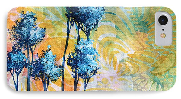 Abstract Art Original Landscape Painting Contemporary Design Blue Trees I By Madart Phone Case by Megan Duncanson