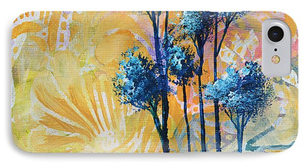 Abstract Art Original Landscape Painting Contemporary Design Blue Trees II By Madart Phone Case by Megan Duncanson