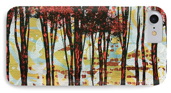 Abstract Art Original Landscape Painting Contemporary Design Forest Of Dreams I By Madart Phone Case by Megan Duncanson