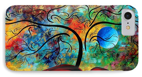 Abstract Art Original Landscape Painting Metallic Gold Textured Blue Moon Rising By Madart Phone Case by Megan Duncanson