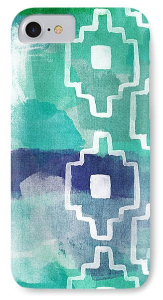 Abstract Aztec- Contemporary Abstract Painting IPhone Case by Linda Woods