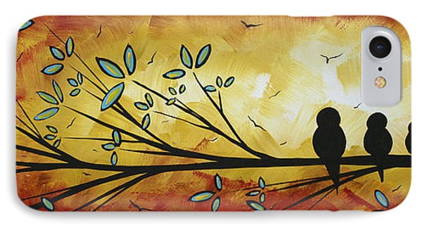 Abstract Bird Landscape Tree Blossoms Original Painting Family Of Three Phone Case by Megan Duncanson
