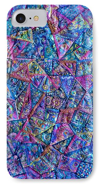Abstract Blue Rose Quilt IPhone Case by Jean Fitzgerald