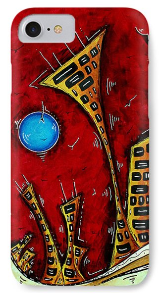 Abstract City Cityscape Art Original Painting Stand Tall By Madart Phone Case by Megan Duncanson