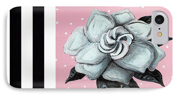 Abstract Contemporary Whimsical Pink Painting Gardenia Flower By Madart Phone Case by Megan Duncanson