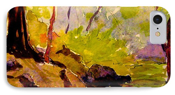IPhone Case featuring the painting Abstract Creek In Woods by Gretchen Allen
