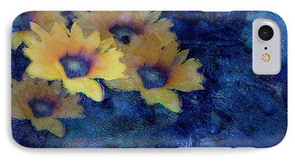 Abstract Daisies On Blue Phone Case by Ann Powell