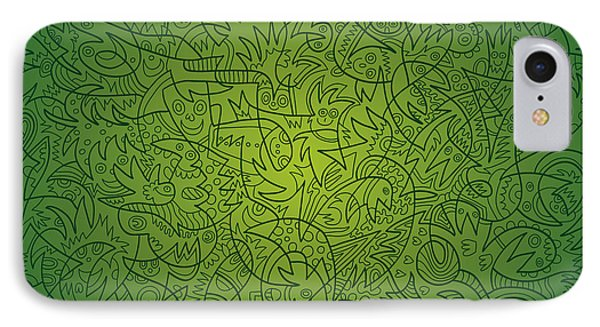 Abstract Doodle Faces Green IPhone Case by Frank Ramspott