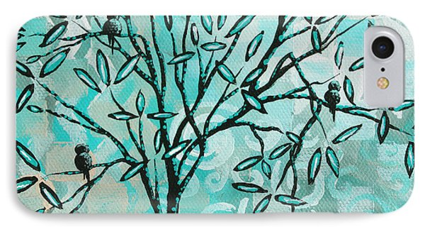 Abstract Floral Birds Landscape Painting Bird Haven II By Megan Duncanson Phone Case by Megan Duncanson