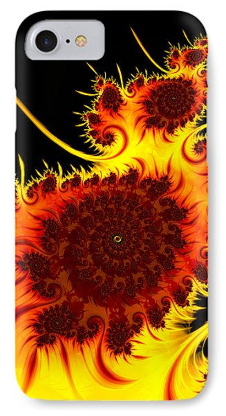 Abstract Fractal Art Warm Vivid Colors Red Orange Yellow Black IPhone Case by Matthias Hauser