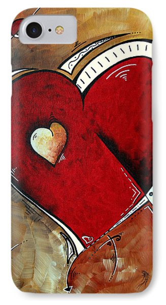 Abstract Heart Original Painting Valentines Day Heart Beat By Madart Phone Case by Megan Duncanson