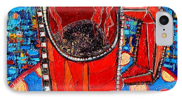 Abstract Hot Coffee In Red Mug IPhone Case by Ana Maria Edulescu