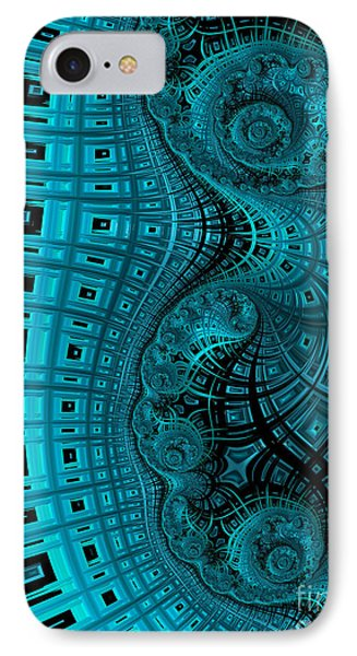 Abstract In Blue And Black IPhone Case by John Edwards