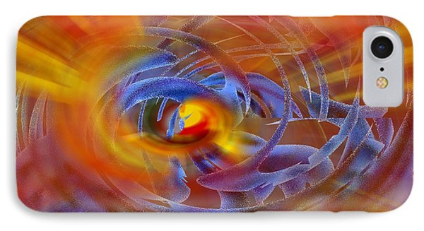 IPhone Case featuring the digital art Abstract In Fire And Blue by rd Erickson