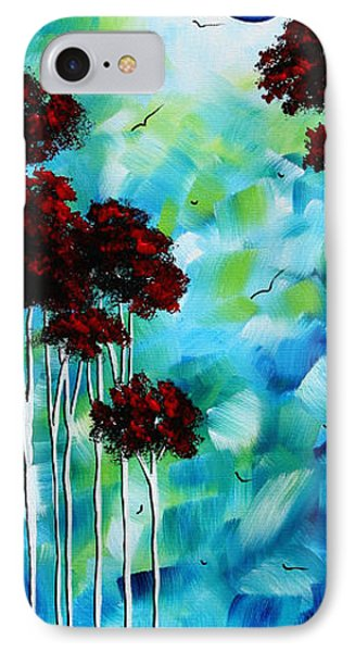 Abstract Landscape Art Original Tree And Moon Painting Blue Moon By Madart Phone Case by Megan Duncanson