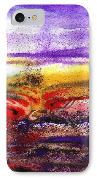 Abstract Landscape Purple Sunrise Earthy Swirl IPhone Case by Irina Sztukowski