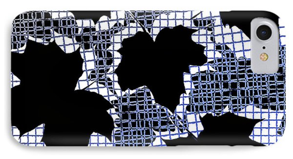 Abstract Leaf Pattern - Black White Blue Phone Case by Natalie Kinnear