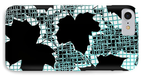 Abstract Leaf Pattern - Black White Turquoise Phone Case by Natalie Kinnear