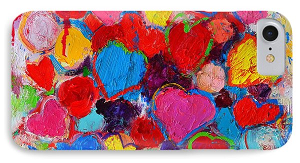Abstract Love Bouquet Of Colorful Hearts And Flowers IPhone Case by Ana Maria Edulescu
